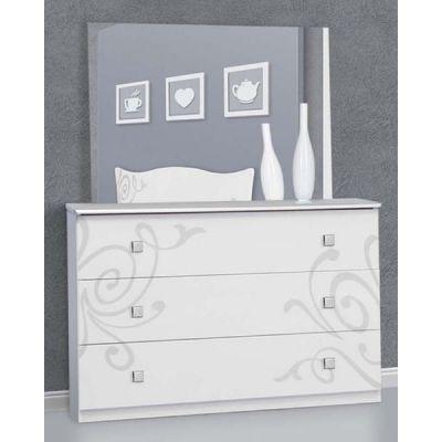 Комод с зеркалом «Фелиция Нова белый лак»