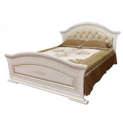 Кровать 2-сп «Николь патина» (1.6) с мягким быльцем без матраса и каркаса